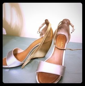 Two Toned silver and gold Wedge Sandal.